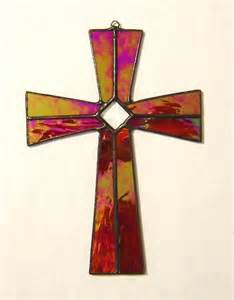 Simple stained glass cross patterns red stained glass cross
