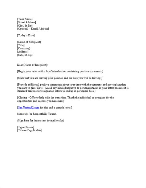 letter of resignation templates free letter of resignation template resignation letter
