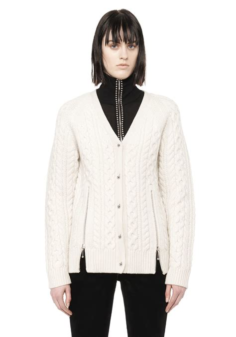 White Knit Cardigan 19834 black and white cable knit cardigan zip sweater