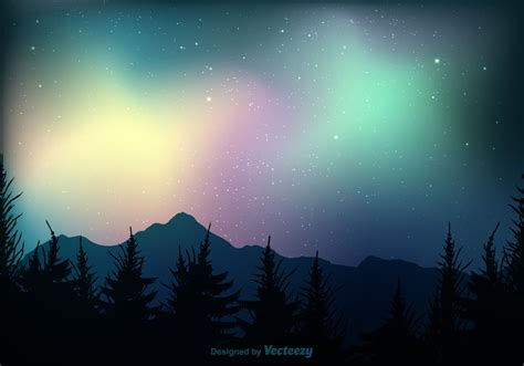 northern lights vector background free vector