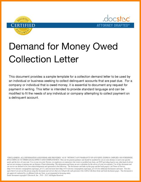Letter Of Agreement For Money Owed 8 Collection Demand Letter Sle Computer Invoice