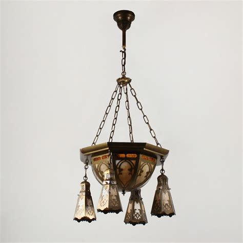 Slag Glass Chandelier Large Antique Brass Six Light Chandelier With Original Slag Glass Early 1900s Nc1505 Rw For