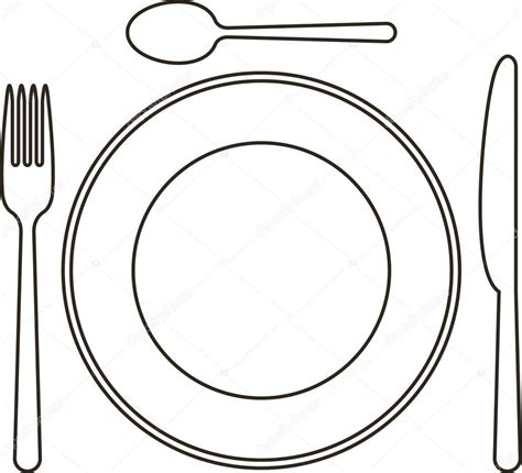 Place Setting With Plate Knife Spoon And Fork Stock Vector 169 Nikolae 12427386 Place Setting Template