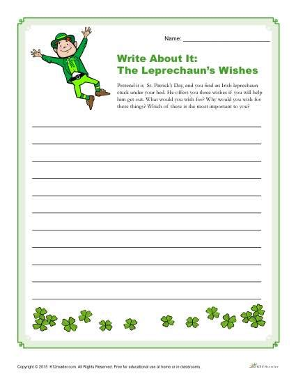 writing wishes on paper st s day writing prompt the leprechaun s wishes