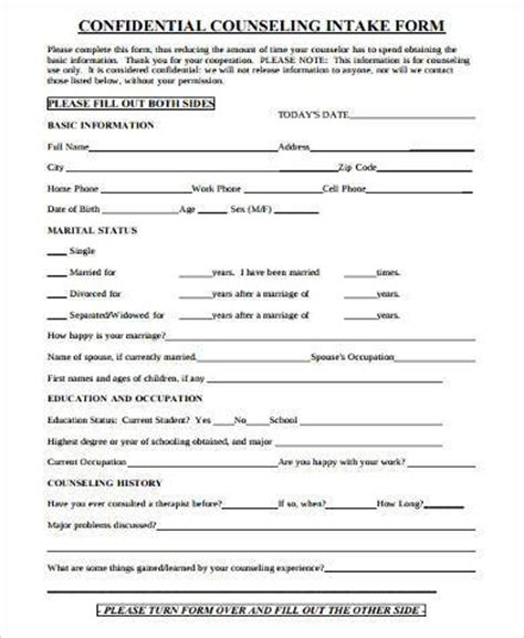 counseling intake form template sle counseling intake forms 9 free documents in word