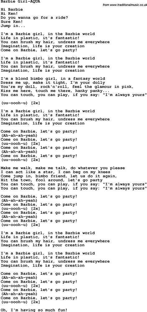 I am a barbie girl song lyrics free download