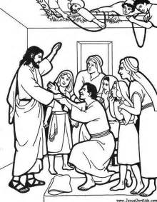 jesus heals the paralytic man colouring sheet sunday