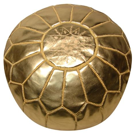 Gold Pouf Ottoman Moroccan Pouf Gold Leather Rosenberryrooms