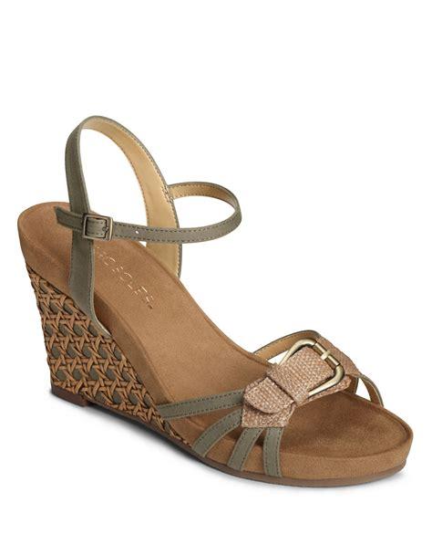 aerosoles wedge sandals aerosoles plush around wedge sandals in brown green