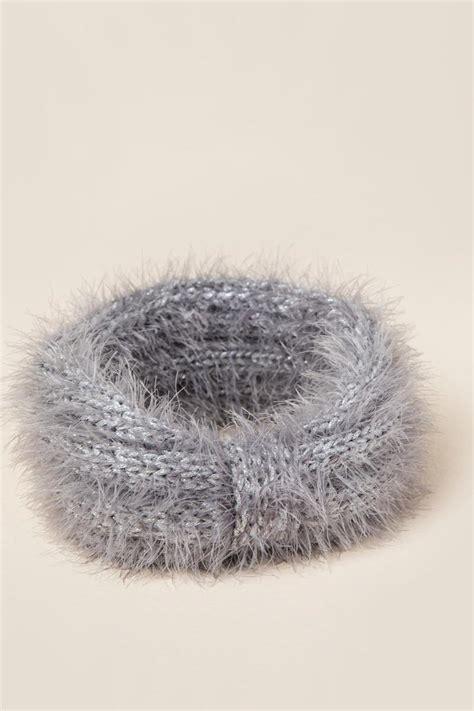 gray hair is fuzzy michi fuzzy lurex earband francesca s