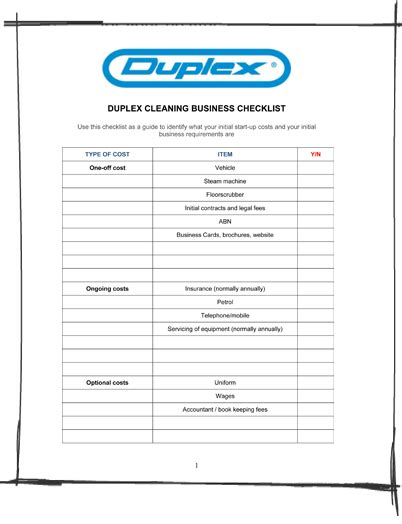 download cleaning business checklist to identify initial
