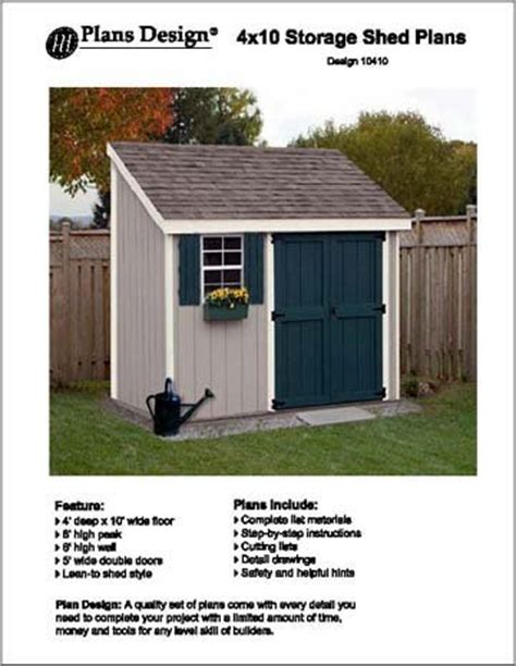 lean  storage shed project plans design