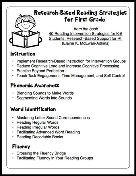Research Based Strategies Handouts For Kindergarten And