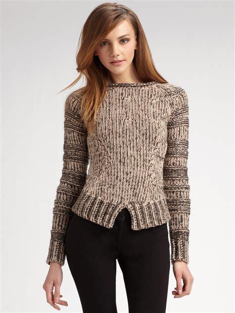 brown pattern sweater derek lam pattern stitched sweater in brown lyst