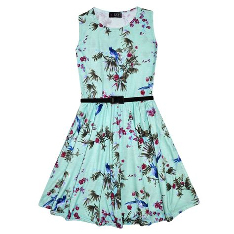 7 Skirts For End Of Summer by Skater Dress Mint Abstract Floral Print Summer