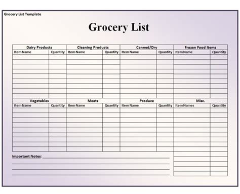 editable grocery list or shopping list template exles