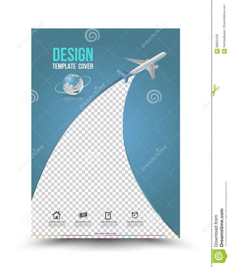 template layout paper cover page layout template with paper airplane stock