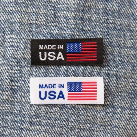 american flag made in usa labels clothing tag woven