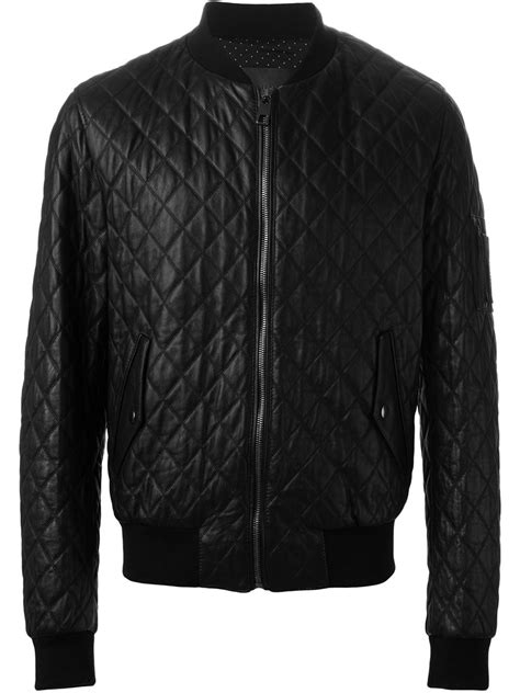 Mens Leather Quilted Bomber Jacket by Dolce Gabbana Quilted Leather Bomber Jacket In Black For
