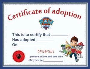 paw patrol adoption certificate printable digital bb8jony