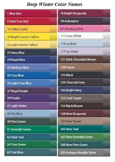 cool color names 25 best ideas about winter colors on