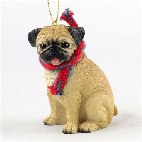 pug ornaments pug ornament scarf figurine fawn