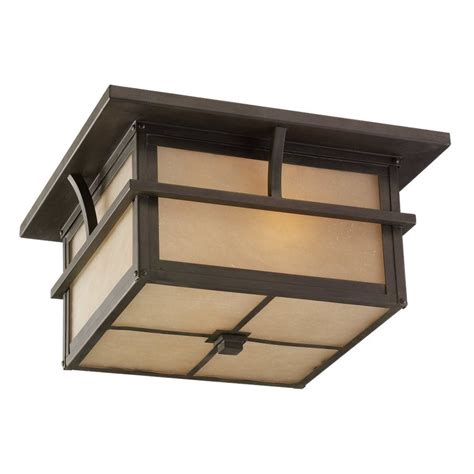 Outdoor Ceiling Mount Light Shop Sea Gull Lighting Medford Lakes 13 In W Statuary Bronze Outdoor Flush Mount Light At Lowes