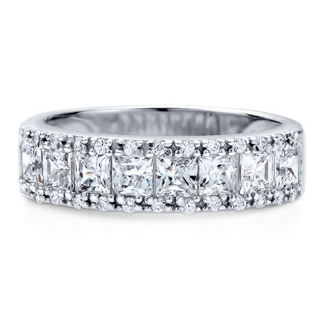 berricle sterling silver cz anniversary half eternity band ring 1 59 carat ebay