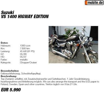 Motorrad Händler In Solingen by Die R 252 Ckkehr Zur Vs1400 Intruder Motorbiketours
