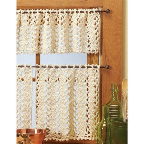 Village Yarn Vienna Lace Valance Curtains Crochet Yarn Kit Crochet Kitchen Curtains
