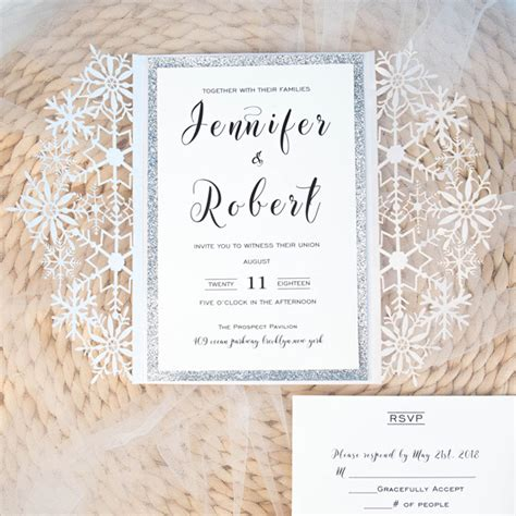 White And Silver Wedding Invitations glittery white and silver wedding invitations with