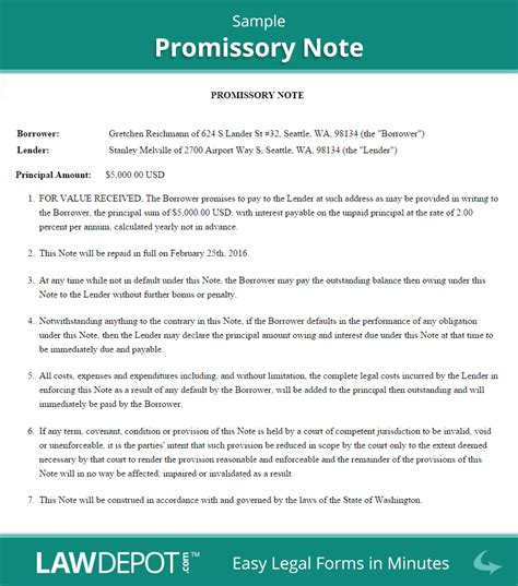 promissory note template free business template