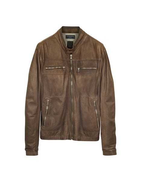 real leather motorcycle jackets forzieri genuine leather brown motorcycle jacket in brown
