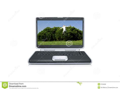 jump on computer laptop computer with jumping royalty free stock