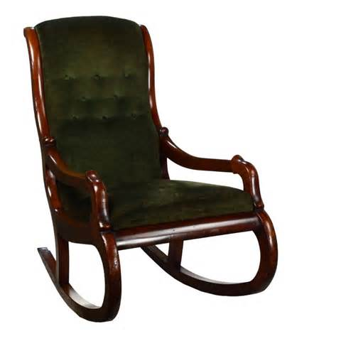 couch rocking chair victorian antique mahogany green upholstered rocker