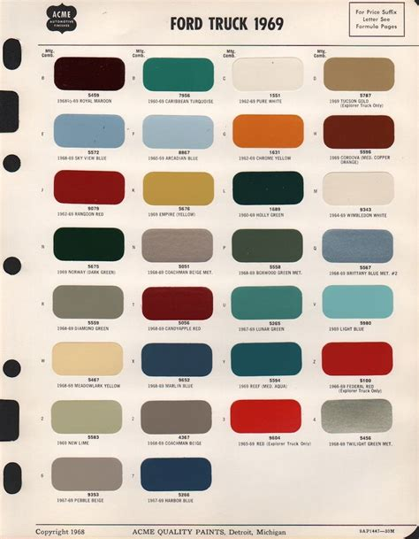 ford paint colors paint chips 1969 ford truck ride paint