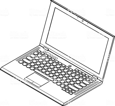 Drawing Laptop by Laptop Line Stock Vector 472349357 Istock