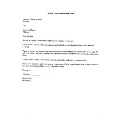 Business Closing Letter To Creditors free sle letter of business closure for your partners