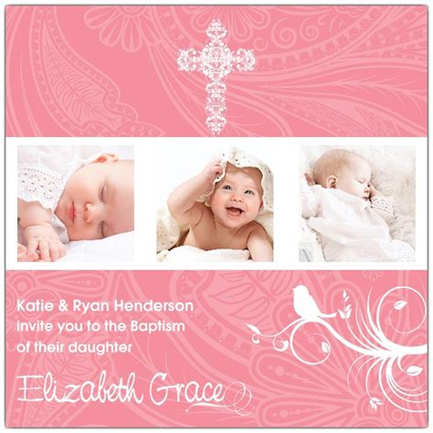 joyful bird photo baptism invitations paperstyle