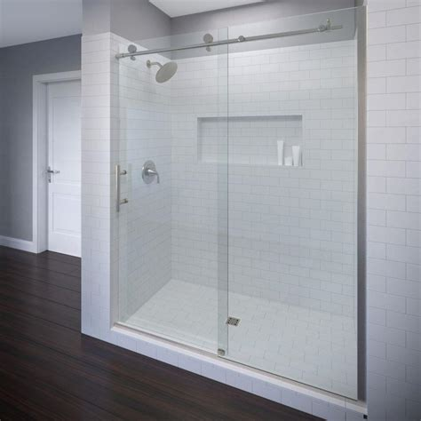 Bosco Shower Doors Basco Vinesse 47 In X 76 In Semi Framed Sliding Shower Door And Fixed Panel In Brushed Nickel