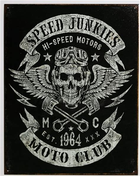 Hair Style Books Sold At Sam S Club by Speed Junkies Moto Club Tin Metal Sign Skull And Pistons