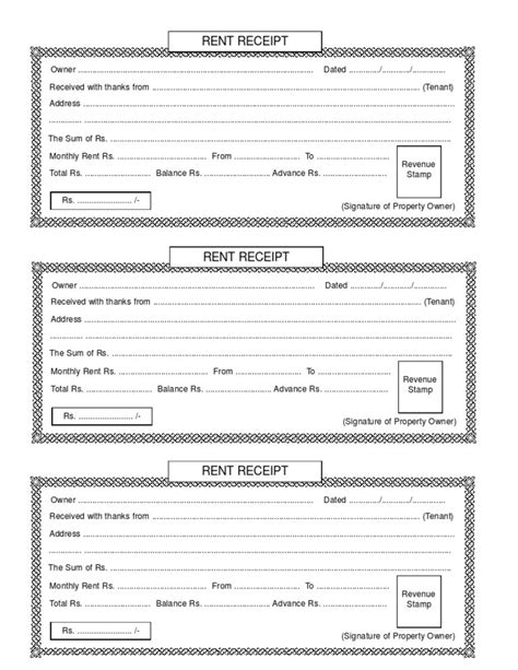 printable rental receipt free printable receipts for payment rent