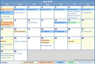 2018 Calendar With Religious Holidays April 2018 Calendar With Holidays As Picture