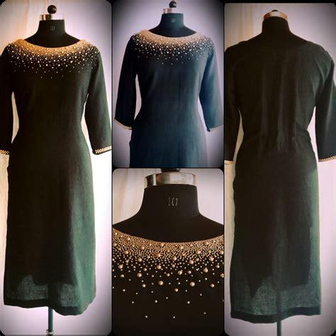 beadwork on kurti code 2810163 linen cotton kurti with bead work price
