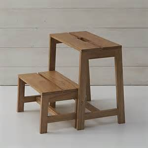 wooden 2 step stool crate and barrel