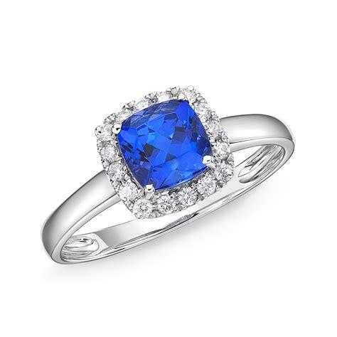 1 48 carat tanzanite cushion cut diamond halo ring