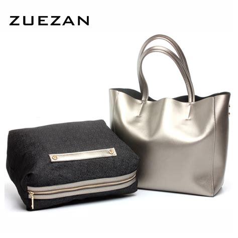 Cowskin Fashion Bag 2 2 bags pearls luster set tote casual bag
