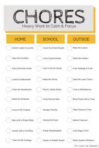 home chores free chore chart heavy work to focus and calm kids