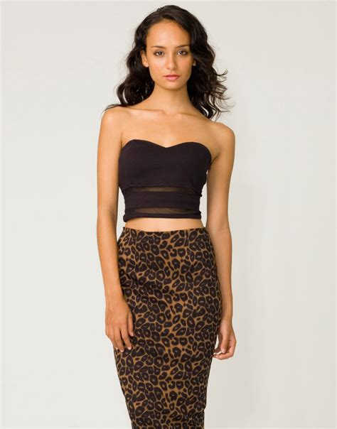 buy motel high waist pencil skirt in leopard print at