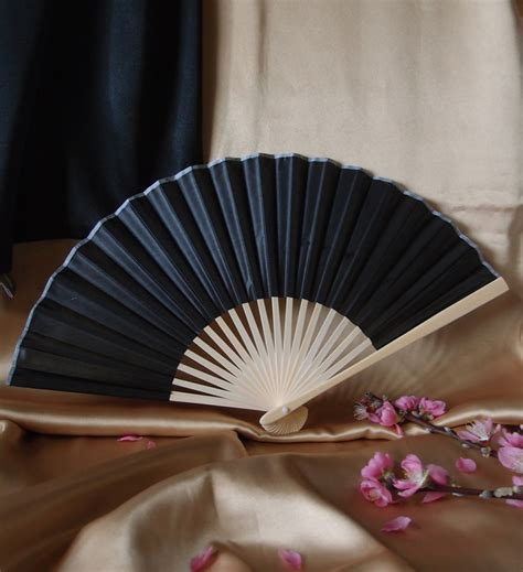 Handmade Fans For Weddings - 9 quot black folding silk fan for weddings on